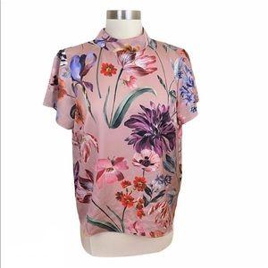 J Crew Blush Pink Floral Print Mock Neck Blouse